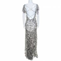 Valentino Monochrome Floral Printed Silk Ruffled Backless Evening Gown M 199822