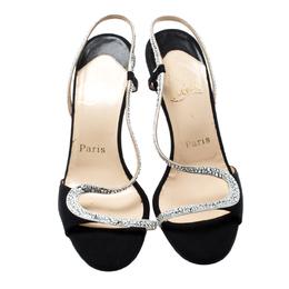 Christian Louboutin Black Satin Alta Perla Crystal Embellished Slingback Sandals Size 37 199682