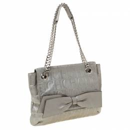 Carolina Herrera Silver Metallic Monogram Leather Audrey Shoulder Bag 212361