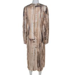 Marni Beige Box Face Print Satin Long Sleeve Midi Dress M 212790