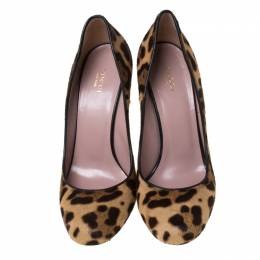 Gucci Two Tone Leopard Print Pony Hair Wedge Pumps Size 40 213043