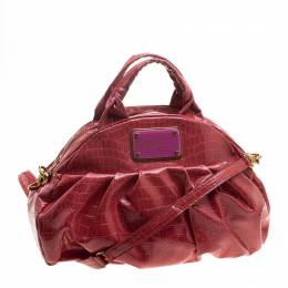 Marc By Marc Jacobs Red Croc Embossed Patent Leather Satchel 131111