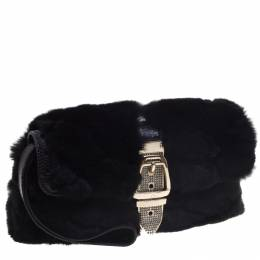 Gucci Black Fur Lizard Trim Crystal Embellished Wristlet Clutch 94654