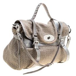 Mulberry Sparkle Grey Woven Fabric Alexa Top Handle Shoulder Bag 162540
