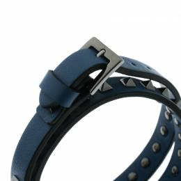 Valentino Rockstuds Blue Leather Gunmetal Tone Double Wrap Bracelet 176106