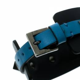 Valentino Large Rockstud Bi Color Leather Gunmetal Tone Cuff Bracelet 176290