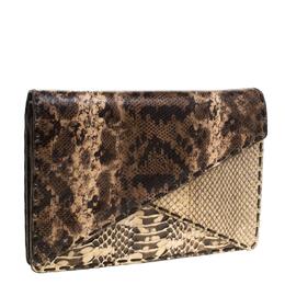 Bottega Veneta Brown Python Envelope Clutch 178321