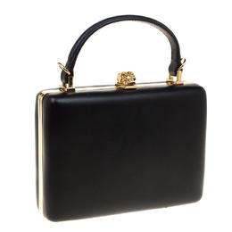 Alexander McQueen Black Leather Skull Top Handle Bag 178497