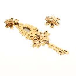 Burberry Pink Flower Crystal Gold Tone Clip-on Asymmetric Stud Drop Earrings 185889