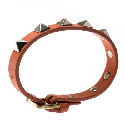 Valentino Rockstud Orange Leather Gold Tone Bracelet 187404 - 2