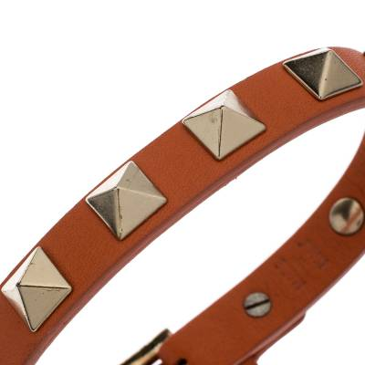 Valentino Rockstud Orange Leather Gold Tone Bracelet 187404 - 3