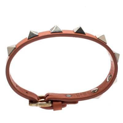 Valentino Rockstud Orange Leather Gold Tone Bracelet 187404 - 4