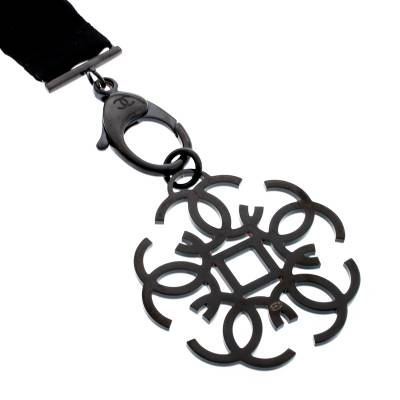 Chanel CC Crystal Embellished Black Ribbon Necklace 185251 - 3