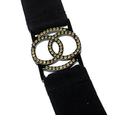 Chanel CC Crystal Embellished Black Ribbon Necklace 185251 - 4