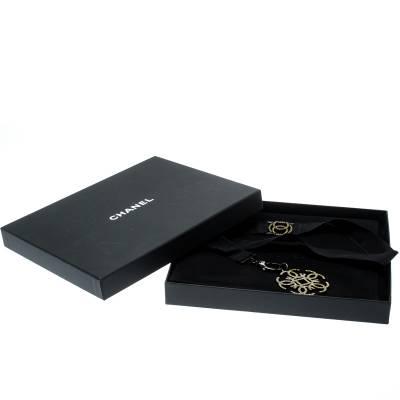 Chanel CC Crystal Embellished Black Ribbon Necklace 185251 - 6