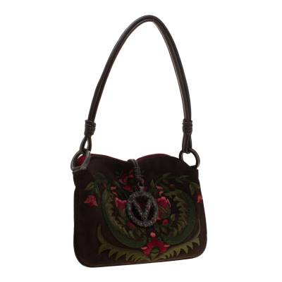 Valentino Brown Flowers Embroidered Suede and Leather Vring Shoulder Bag 187278 - 2