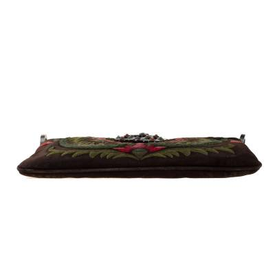 Valentino Brown Flowers Embroidered Suede and Leather Vring Shoulder Bag 187278 - 5