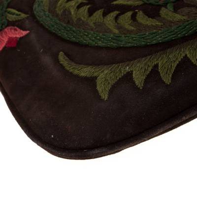 Valentino Brown Flowers Embroidered Suede and Leather Vring Shoulder Bag 187278 - 9