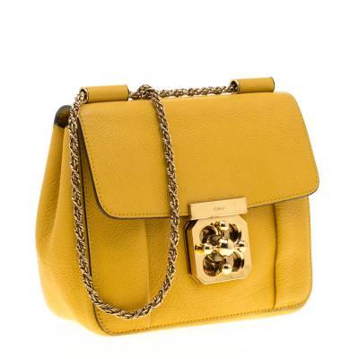 Chloe Mustard Leather Small Elsie Shoulder Bag 187023 - 2