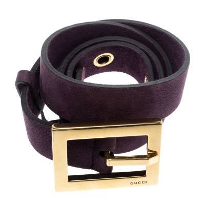 Gucci Purple Nubuck Leather Belt 85CM 186865 - 3