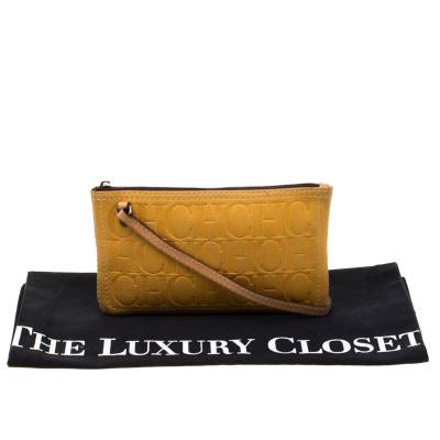 Carolina Herrera Mustard Signature Leather Crossbody Bag 187012 - 8