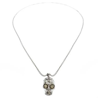 Alexander McQueen Crystal Embedded Silver Tone Skull Pendant Necklace 187307 - 2