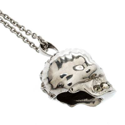 Alexander McQueen Crystal Embedded Silver Tone Skull Pendant Necklace 187307 - 3