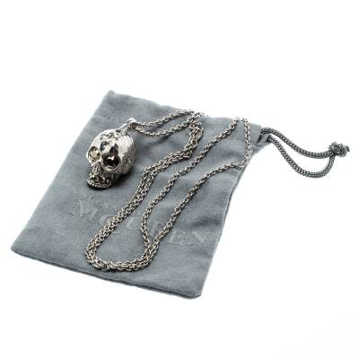 Alexander McQueen Crystal Embedded Silver Tone Skull Pendant Necklace 187307 - 5
