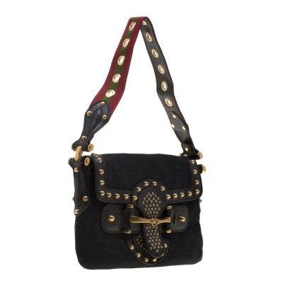 Gucci Black GG Canvas and Leather Studded Pelham Runway Shoulder Bag 187301 - 3