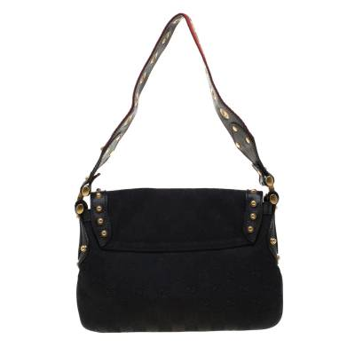 Gucci Black GG Canvas and Leather Studded Pelham Runway Shoulder Bag 187301 - 4