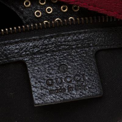 Gucci Black GG Canvas and Leather Studded Pelham Runway Shoulder Bag 187301 - 9