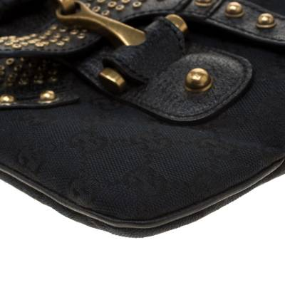 Gucci Black GG Canvas and Leather Studded Pelham Runway Shoulder Bag 187301 - 11