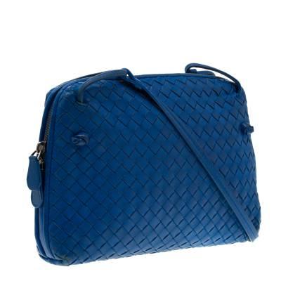 Bottega Veneta Blue Intrecciato Leather Nodini Crossbody Bag 187378 - 2
