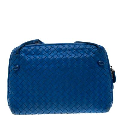 Bottega Veneta Blue Intrecciato Leather Nodini Crossbody Bag 187378 - 3