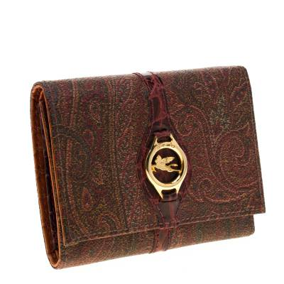 Etro Brown Paisley Printed Coated Canvas Trifold Wallet 185788 - 2