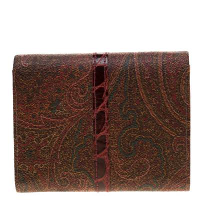 Etro Brown Paisley Printed Coated Canvas Trifold Wallet 185788 - 3