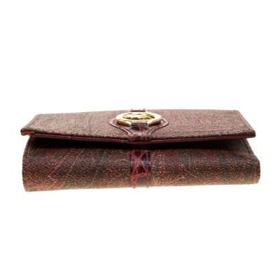 Etro Brown Paisley Printed Coated Canvas Trifold Wallet 185788 - 5