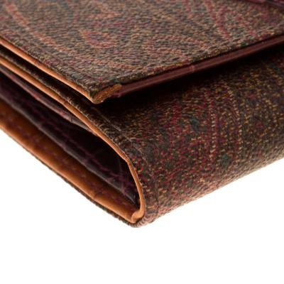 Etro Brown Paisley Printed Coated Canvas Trifold Wallet 185788 - 8