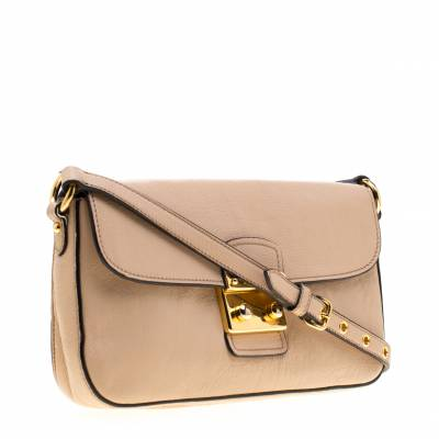 Miu Miu Beige Leather Flap Crossbody Bag 186968 - 2