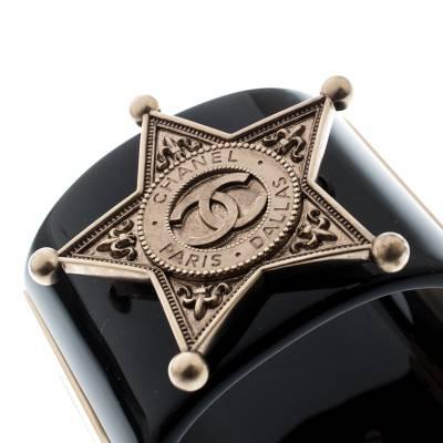 Chanel Black Sheriff Star Gold Tone Wide Cuff Bracelet 187198 - 2
