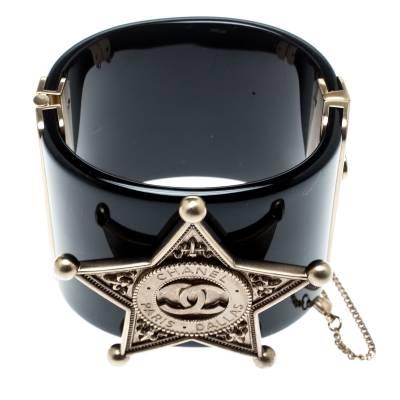 Chanel Black Sheriff Star Gold Tone Wide Cuff Bracelet 187198 - 4