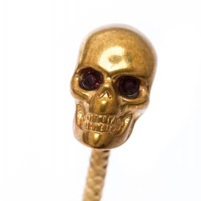 Alexander McQueen Twin Skull Gold Tone Open Cuff Bracelet 19cm 187227 - 3