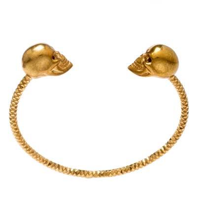 Alexander McQueen Twin Skull Gold Tone Open Cuff Bracelet 19cm 187227 - 4
