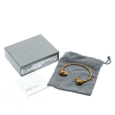 Alexander McQueen Twin Skull Gold Tone Open Cuff Bracelet 19cm 187227 - 6