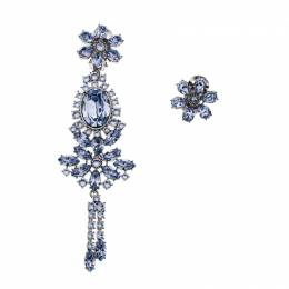 Burberry Flower Crystal Silver Tone Clip-on Asymmetric Stud Drop Earrings 185922