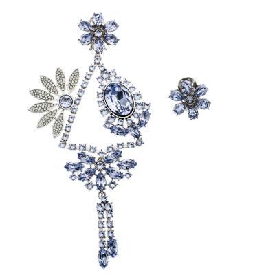 Burberry Half Daisy Crystal Silver Tone Clip-on Asymmetric Stud Drop Earrings 185925 - 2