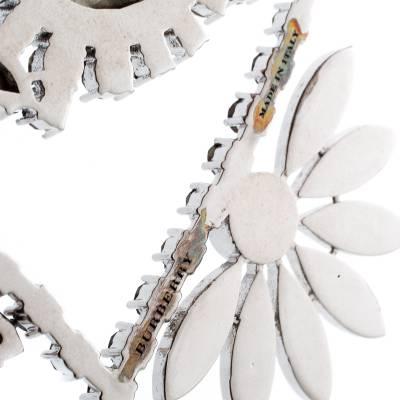 Burberry Half Daisy Crystal Silver Tone Clip-on Asymmetric Stud Drop Earrings 185925 - 4