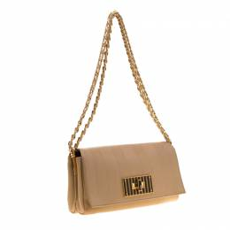 Fendi Beige Pequin Embossed Leather Small Claudia Shoulder Bag 186269