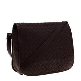 Bottega Veneta Dark Burgundy Intrecciato Leather Crossbody Bag 187377