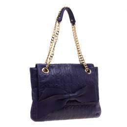 Carolina Herrera Purple Monogram Leather Audrey Shoulder Bag 193019